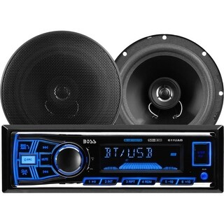 """""""Boss 638BCK Boss Audio 638BCK Package Includes 611UAB Single-DIN AM/FM Mechless Bluetooth Enabled/Audio Streaming Digital Media"""