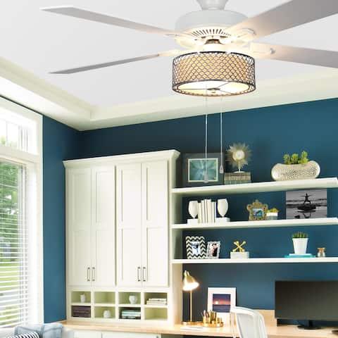 Porch & Den Laredo Chromed Wave 5-blade 52-inch LED Ceiling Fan