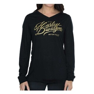 Harley-Davidson Women's Warp Speed Metallic Ink Long Sleeve Tee - Black