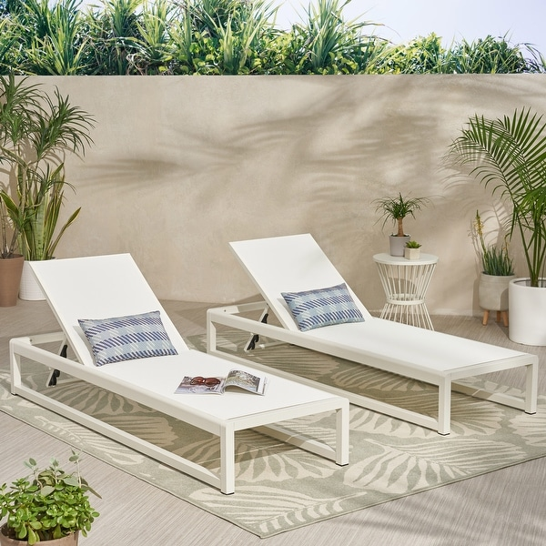 """Modesta Outdoor Mesh Chaise Lounges (Set of 2) by Christopher Knight Home - 76.50"""" W x 25.50"""" D x 11.50"""" H. Opens flyout."""