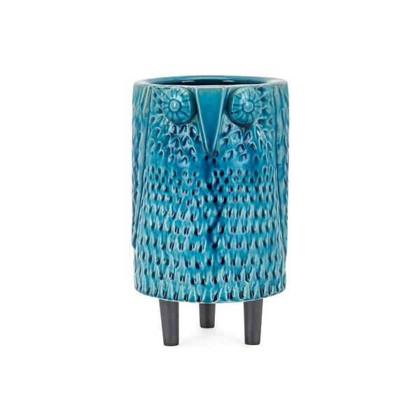 "10"" Turquoise Blue Glaze Finish Decorative Owl Themed Medium Vase Tabletop Decor - N/A"