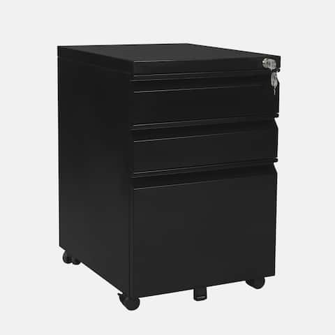 Black 3-Drawer Mobile Filing Cabinet