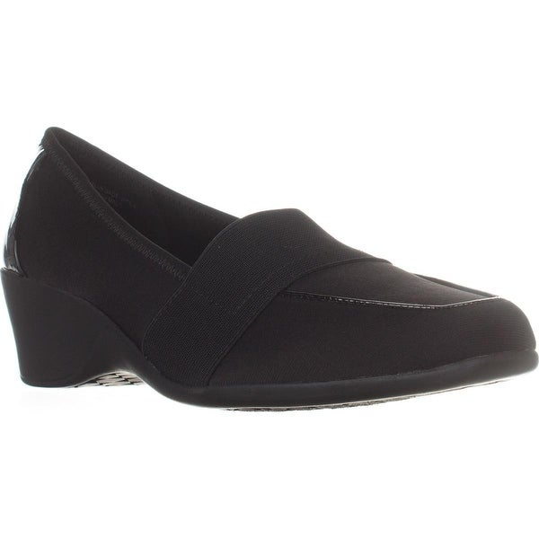KS35 Fawna Square Toe Wedge Loafers, Black