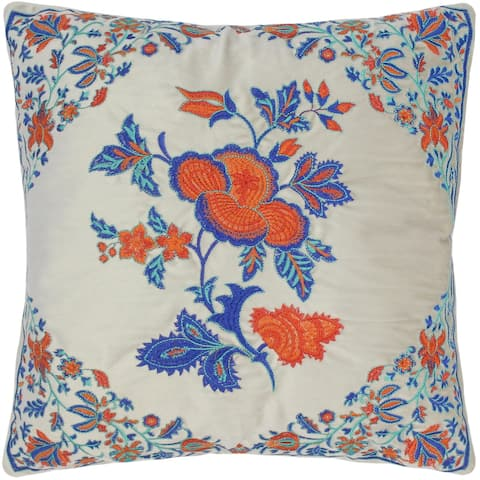 Bohemian Embroidered Stasia Floral Velvet Pillow