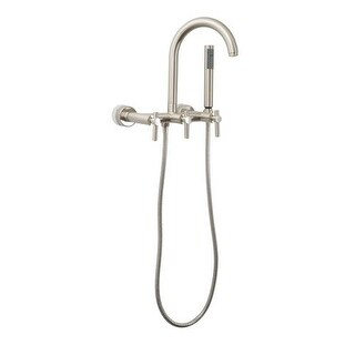 Giagni CWTF Contemporary Clawfoot Wall Mounted Tub Filler Faucet with Metal Lever Handles and Built-In Diverter - Includes