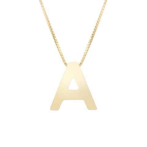 "Initial Letter Necklace 14K Gold Adjustable 18"" Chain by Joelle Collection"