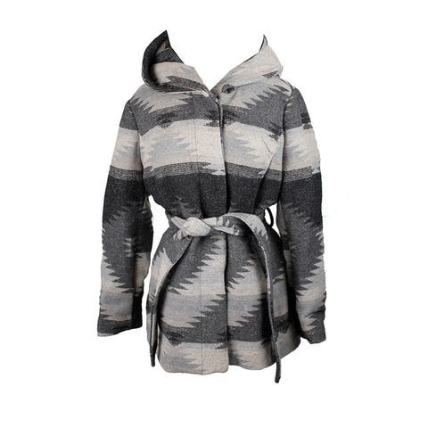 Coffeeshop Grey Printed Hooded Belted Walker Coat XS