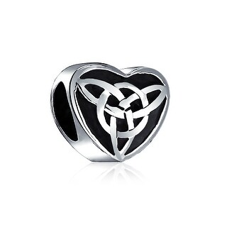 Bling Jewelry Oxidized Celtic Knot Charm 925 Sterling Silver Triquetra Heart Charm Bead for Bracelet