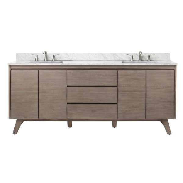 """Avanity COVENTRY-VS73 Coventry 73"""" Free Standing Double Vanity Set with Wood Cabinet, Marble Vanity Top and Two Ceramic"""