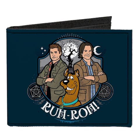 Scooby Doo Supernatural Sam Dean Group Pose Ruh-Roh Badge Blues Canvas Wallet