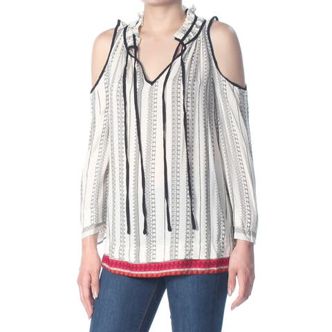 JESSICA SIMPSON Womens Ivory Cold Shoulder Printed Long Sleeve Top Size: S