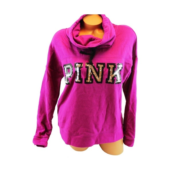 33cb10d91958b3 Shop Victoria's Secret PINK Bling Sequin Logo Pullover Sweater Cowl Neck  Magenta S - small - Free Shipping Today - Overstock - 23091002