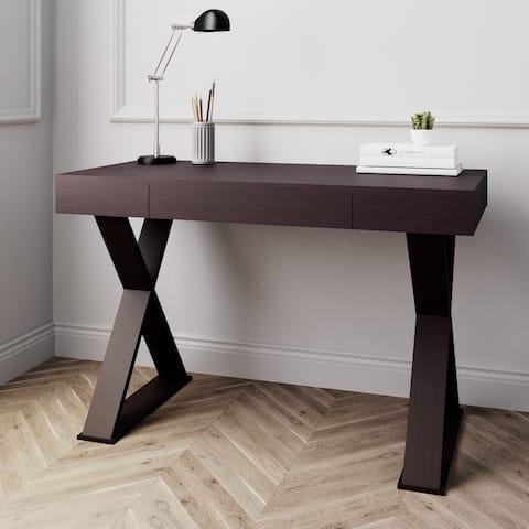 Mordern Trendy Writing Desk with Drawer, Espresso
