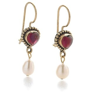 "Women's Classical Garnet Heart Dangle Earrings - Locking French Wire Fishhook - Hang 1 1/2"""