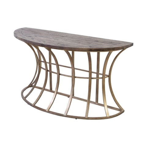 Half-Circle Console Table in Soft Gold Solid Grey Pine finish with Frame Base - Material Iron Solid