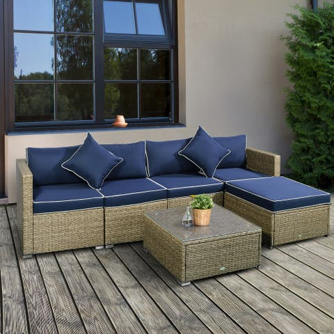 Outsunny 6-Piece Outdoor Patio Rattan Wicker Furniture Set with Comfortable Cotton Cushions, Removable Slip Covers