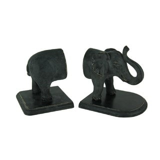 Link to Distressed Black Standing Elephant Top and Tail Bookend Set Similar Items in Desk Accessories