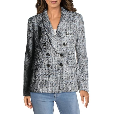 Aqua Womens Double-Breasted Blazer Tweed Business - Blue/Grey Multi