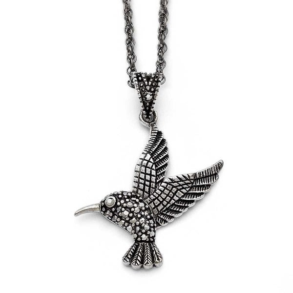 Chisel Stainless Steel Marcasite and Antiqued Bird Necklace (2 mm) - 18 in
