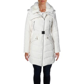 French Connection Womens Puffer Coat Down Faux Fur Trim