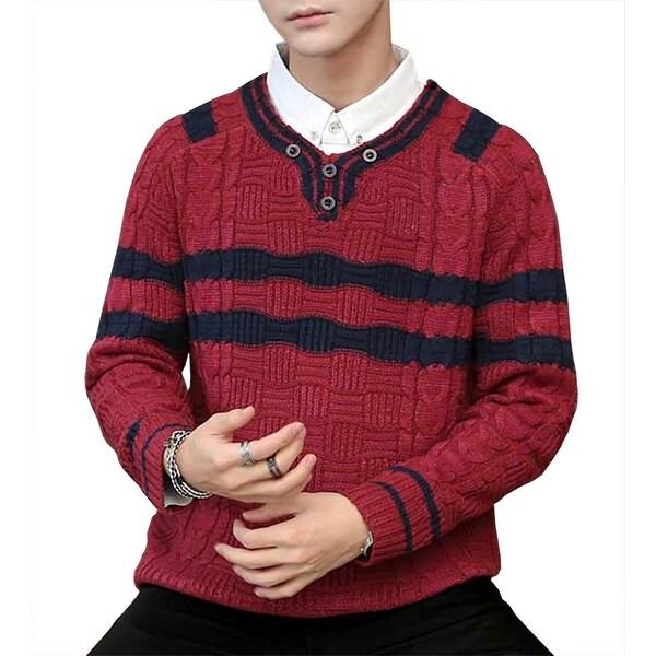 deb7b87d95d0 QZUnique Men's Crewneck Knitted Sweater Pullover Long Sleeve Knitwear