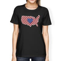 USA Map American Flag Heart Shape Womens Black Graphic Cotton Tee