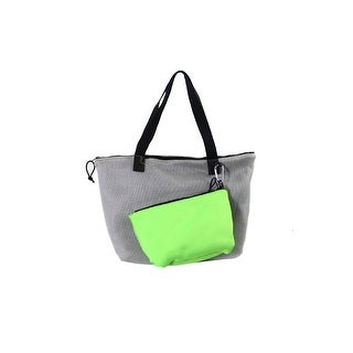 Ideology Silver Green Perforated Tote With Pouch OS