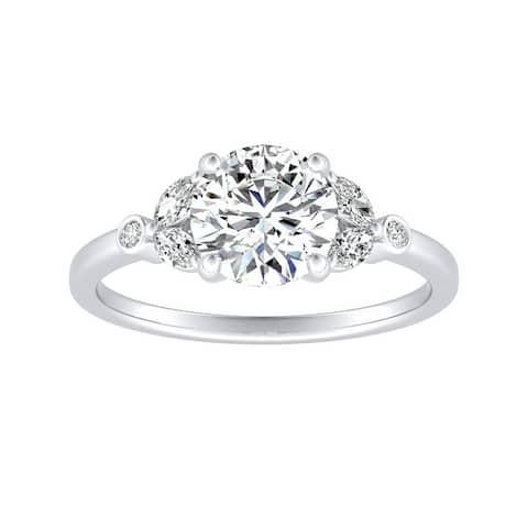 Auriya 14k Gold 1ctw Vintage Floral Moissanite and Diamond Engagement Ring 1/4ctw