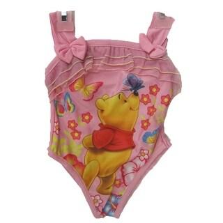 Disney Little Girls Pink Winnie The Pooh Print One Pc Swimsuit 18 M