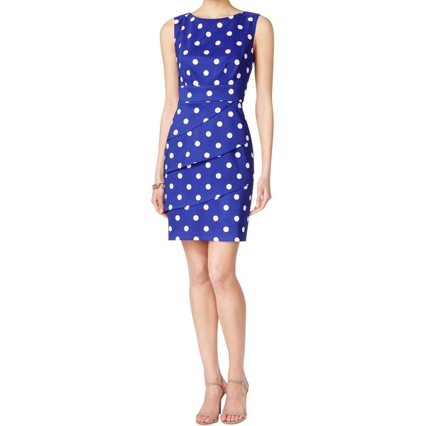 Connected Apparel Womens Wear to Work Dress Polka Dot Peplum