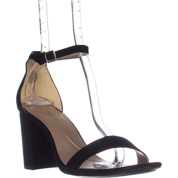 Bandolino Armory Heeled Ankle Strap Sandals, Black Fabric