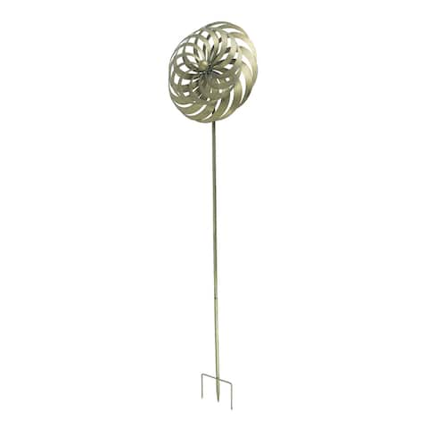Antique Gold Finish Metal Art Dual Flower Wind Spinner Garden Stake - 72 X 19.1 X 4.72 inches