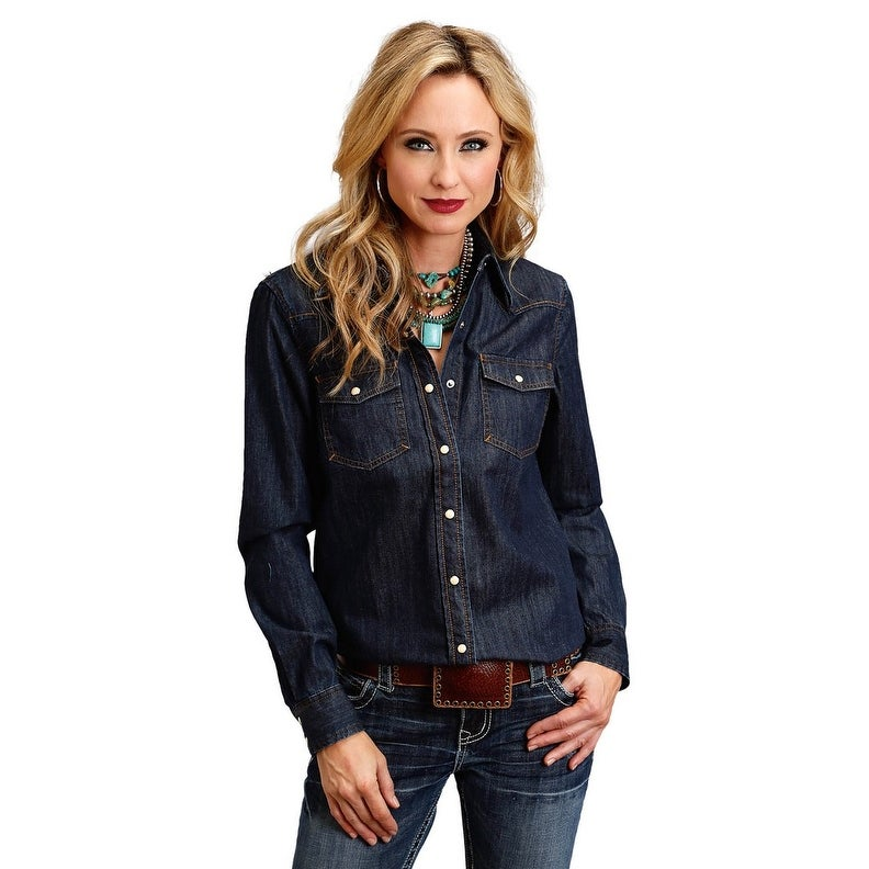 Stetson Western Shirt Womens L/S Denim Stitch