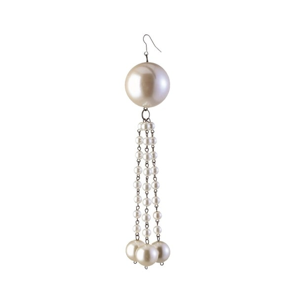 "7"" Glamour Time Decorative Cream Pearl Dangling Tassel Christmas Ornament"