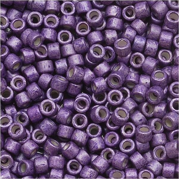 Miyuki Delica Seed Beads 11/0 Galvanized Silver Frost Eggplant Purple DB1185