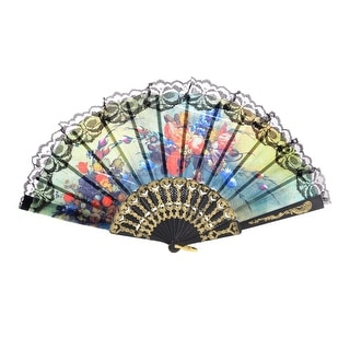 Unique Bargains Gold Tone Pattern Frame Peony Flower Pattern Nylon Section Hand Fan