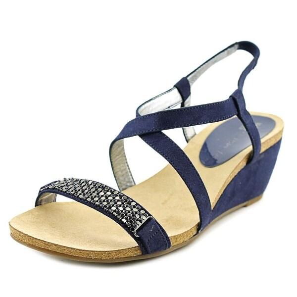 Anne Klein Jasia Women Open Toe Canvas Blue Wedge Sandal
