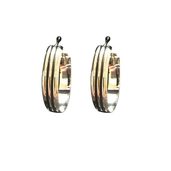 max & MO Double Grooved Wide Hoop Black and Silver Earring - Silver/Black