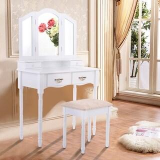 Costway White Tri Folding Mirror Vanity Makeup Table Stool Set Home Furni W/4 Drawers