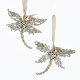 Club Pack of 24 Platinum Glittered Glass Dragonfly Ornaments with Gem Stone 4""