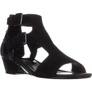Donald J Pliner Eden Double Buckle Sandals, Black/Black