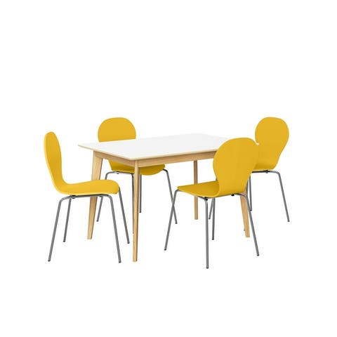 Carson Carrington Rachan 5-piece Dining Table and Shaped Wood Dining Chairs