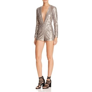 Saylor Womens Romper Sequined Pleated