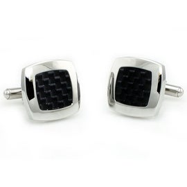 Stainless Steel Men's Cuff Links w/ Black Carbon Fiber Inlay
