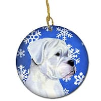 Boxer Winter Snowflakes Holiday Christmas Ceramic Ornament