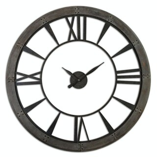 "60"" Oversized Acossi Dark Bronze Finish Roman Numeral Wall Clock with Rusted Finish"
