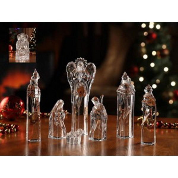"7 Piece Icy Crystal Religious Christmas Nativity Block Figurines 8.75"" - CLEAR"
