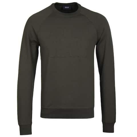 Armani Jeans Mens Embossed Logo Crewneck Sweatshirt Medium Dark Green