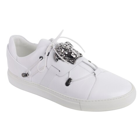 Versace Men White Leather Low Top Silver Medusa Head Sneakers