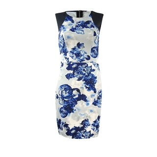 BCBGeneration Women's Sleeveless Floral Sheath Dress - Blue Floral